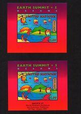 UNITED NATIONS, SCOTT # 708-708A, SET OF EARTH SUMMIT MINI SHEETS W/OVERPRINTED