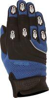 Weise Dakar Blue Black Leather Mesh Lycra MX Motocross Motorcycle Gloves