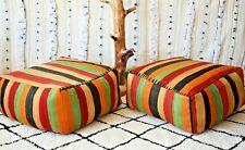 2 Moroccan red kilim pouf, Vintage red kilim Pouf, berber red pouf, square pouf