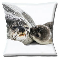 "CUTE SEAL AND seal PUP 'KISS FOR MUM' ON SNOW and ICE 16"" Pillow Cushion Cover"