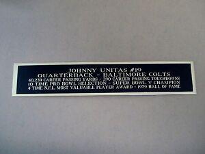 Johnny Unitas Colts Autograph Nameplate For A Football Helmet Case 1.5 X 6