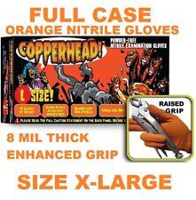 COPPERHEAD Orange Nitrile Gloves, 8 mil, Powder Free, FULL CASE Size XL, X-Large