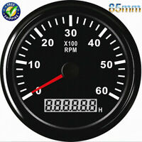 85mm Boat Tachometer LCD Tacho Meter Gauge W/ Hourmeter 6000RPM Marine Car Truck
