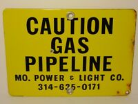 Old Vintage 1970s MISSOURI POWER & LIGHT CO. GAS OIL Porcelain Advertising Sign