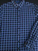 Ben Sherman Mens Button Front Long Sleeve Cotton Navy Blue Plaid Shirt Large L