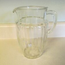 VINTAGE CLEAR GLASS RIBBED 2 QT. WATER PITCHER!