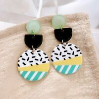 Fashion Contrast Color Pattern Earrings Acrylic Round Dangle Women Summer Gift
