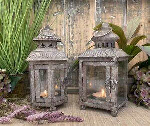Antique French Style Grey Lantern Ornate Metal Wedding Tea Light Candle Holder