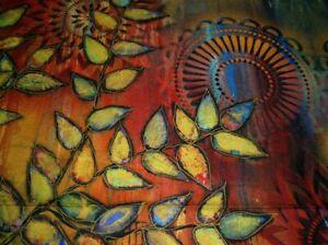 1/2 Yard Remnant Sue Penn Digital Fabric Garden Bright Shine SP001.Multi