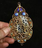 """4.6 """"pendentif en forme de fleur de dragon avec palais or jade cloisonné, Chine"""