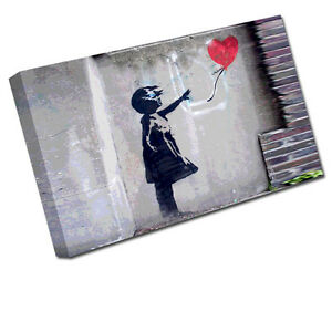BANKSY CANVAS ART GIRL WITH HEART BALLOON PRINT WALL PICTURE BA22