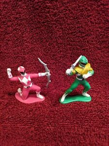 1993 Bandai Original Might Morphin Power Rangers Pink and Green Rangers- 3 in