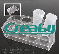 Clear Plastic 8 Socket Test Tube Holder Rack for 100ML Centrifuge Tubes
