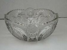 VINTAGE Large Clear Cut Glass Serving or Fruit Bowl w/ Heart & Flower Pattern