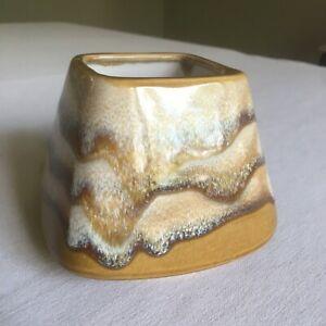 1970's glazed Drip Paint Ceramic Vase Square Mouth Mustard Beige Brown