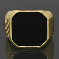 Mens 14k Gold Plated Hip Hop Style Black Top Bling Pinky Ring