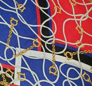 Zara Red White Black Blue Gold Equestrian Vintage Style Crinkle Pleated Scarf