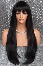 "29"" Human Hair Blend Striaght Long Wig Razor layered Heat oK Off Black 1B TSH"