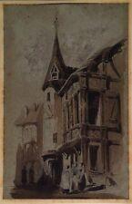 CLERGET (Hubert) : Pignon d'une demeure gothique, Lavis d'encre de Chine signé