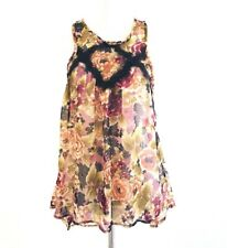 Lily White G1 Womens Sleeveless Paisley Top Size M Floral Asymmetrical Brown
