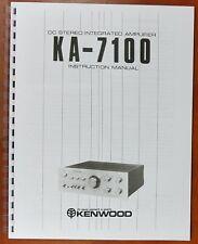 Kenwood KA-7100 Integrated Amplifier Owners Manual