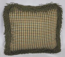 "Pillow made w/ Ralph Lauren Edgefield Green Houndstooth Fabric S 12"" trim Fringe"
