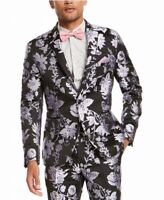 INC Mens Blazer Black Size 2XL Floral Jacquard Metallic Slim Fit $149 #032