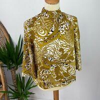 H&M Top Blouse Gold Art Nouveau Pattern High Neck 3/4 Sleeve Sz 6 8
