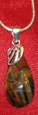 Pietersite Sterling Silver pendant necklace snake chain natural stone storm play