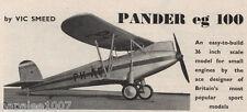 "Model Airplane Plans (FF): 1926 PANDER EG.100 scale 36"" Biplane for .049 (.8cc)"