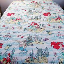 Vintage 90's Disney The Little Mermaid Twin Size Comforter Bedspread 62X88