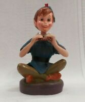 """PETER PAN  figurine DISNEY toy Rubberized heavy plastic 7 """" RARE See Pictures"""