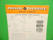 1951 CHRYSLER IMPERIAL DODGE CORONET PLYMOUTH PHILCO AM RADIO SERVICE MANUAL 51