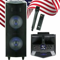 "EMB 3000 Watts Dual 12"" Rechargeable PA DJ Speaker / Bluetooth, Light, Echo"