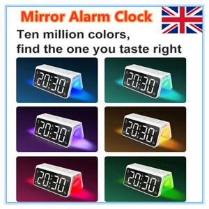 Digital LED Large Display Alarm Clock USB/Battery Operated Mirror Face Design UK