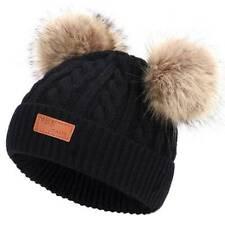 Kids Infant Boy Girl Beanie Hat Cute Cap Winter Double Pom Bobble Knit Black