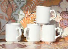 Set of 4 NEW WHITE MUGS for tea coffee SPARTA MUG CUP
