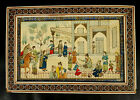 Persian Hand Painted Bone Art Market Scene Khatam Frame Marquetry Mosaic mAAZ