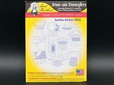Sashiko Kitchen 4023 Aunt Martha's Hot Iron Embroidery Iron-On Transfers