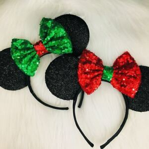 Christmas Mickey Ears, Holiday Mickey Ears, Christmas Minnie Ears, HANDMADE