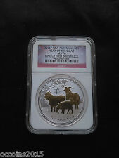 2015 P Australia Silver Gilded Lunar Goat NGC MS70 One of first 500 Struck!!!