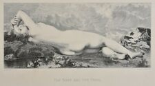 Antique 1888 Engraving Print The Wave and the Pearl by Paul J.A. BAUDRY. Nude.