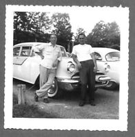 Vintage 1950s Photo Snapshot TWO GUYS HANGING OUT BY THEIR CAR
