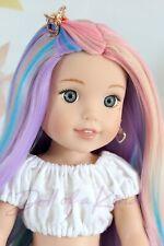 Pastel Rainbow wig-for  Wellie Wisher - Heart 4 Heart - BJD doll - Paola Reina