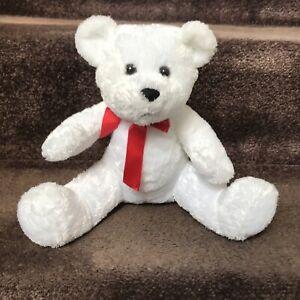 """Hallmark 9"""" Plush Teddy Bear Doll Red Bow VTG"""