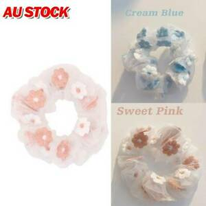 2PC Sweet Embroidery Flowers Mesh Scrunchies Women Romantic Pink Blue Hair Rope