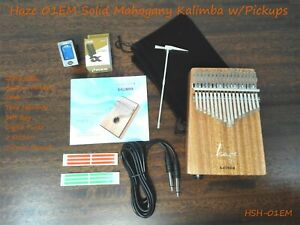 Haze 01EM Solid Mahogany Kalimba MBIRA Thumb Piano,17-Key,Pickup,Tutorial Manual