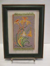 FLOWER ART YELLOW ORANGE  HAND MADE BEAD MICROMOSAIC FRAMED ORIGINAL ARTWORK