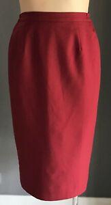 Vintage Maroon Midi Length Straight Skirt Size 16
