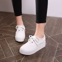 Womens Sneakers Wedge Heels Platform Lace up Creepers Fashion Plus Size Shoes